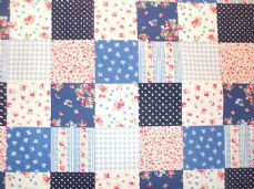 Patchwork Print 100% Cotton Fabric in Blue